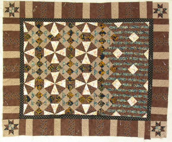Pinned lap quilt  brown
